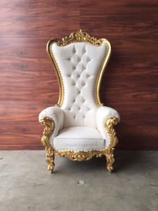 Rent Clear Acrylic Lucite Ghost Sweetheart Table Atlanta, Rent Atlanta gold Baroque King & Queen Throne Chair