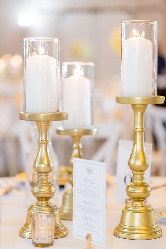 Athena gold candle holder