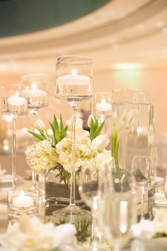 stemmed glass candle holder