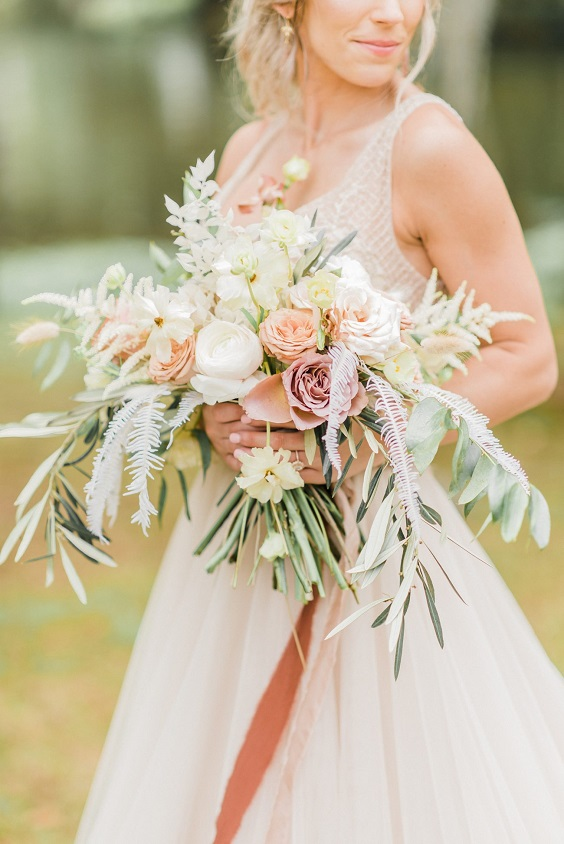 peach and gray spring wedding